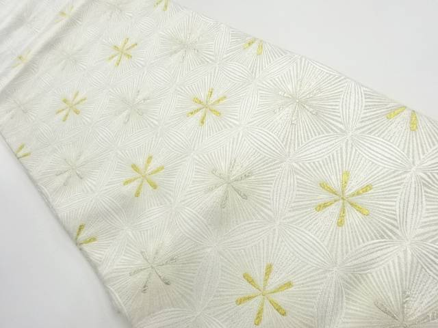 【IDnet】 金銀糸変わり花七宝模様織出し袋帯【リサイクル】【中古】【着】