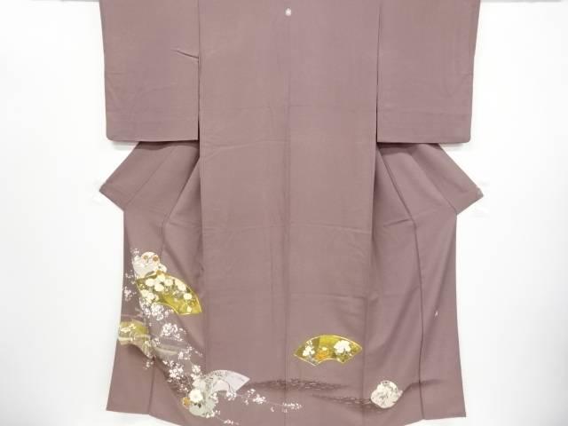 【IDnet】 作家物 箔置き地紙に菊・藤・寺塔模様刺繍一つ紋色留袖【リサイクル】【中古】【着】