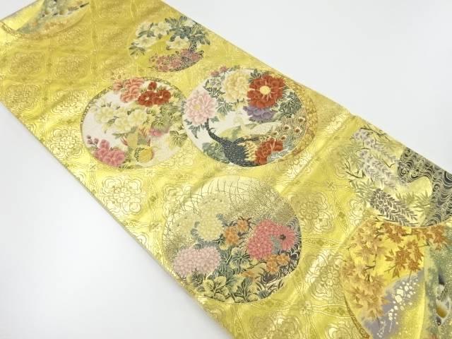 【IDnet】 未使用品 本金箔花鳥風景模様織出し袋帯【リサイクル】【着】