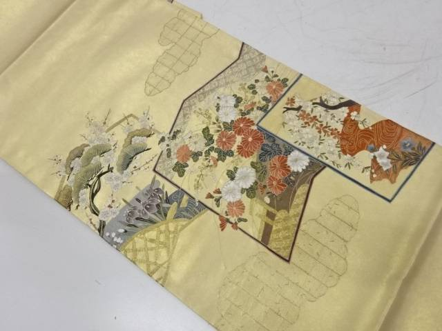 【IDnet】 作家物 蘇州刺繍屏風に草花模様袋帯【リサイクル】【中古】【着】