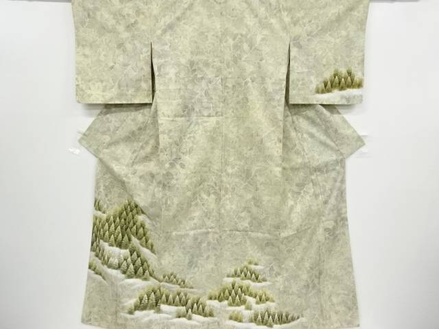 【IDnet】 手描き樹木模様手織り紬訪問着【リサイクル】【中古】【着】