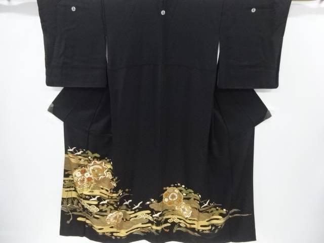 【IDnet】 金彩鏡裏に草花・鳳凰・鶴模様刺繍留袖(比翼付き)【リサイクル】【中古】【着】
