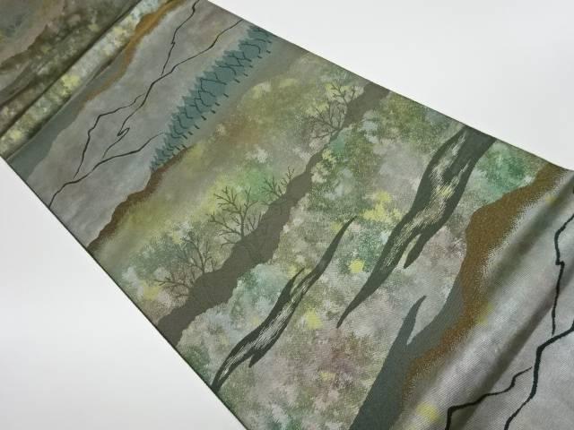 【IDnet】 未使用品 山並み風景模様織出し袋帯【リサイクル】【着】