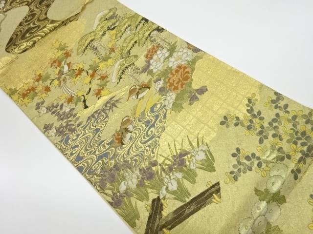 【IDnet】 草花に鳥模様織出し全通袋帯【リサイクル】【中古】【着】