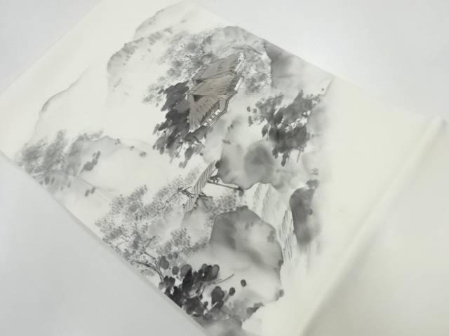 【IDnet】 作家物 塩瀬手描き山小屋風景模様名古屋帯【リサイクル】【中古】【着】