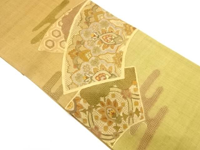 【IDnet】 地紙に花模様刺繍袋帯【リサイクル】【中古】【着】
