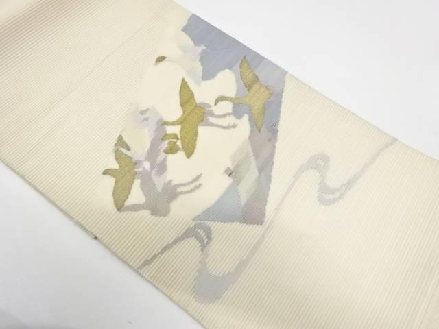 【IDnet】 絽綴れ色紙に群鶴模様織出し袋帯【リサイクル】【中古】【着】