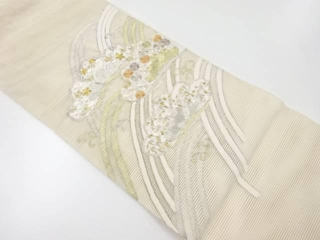 【IDnet】 絽綴れ笠松に菊・楓・波模様刺繍袋帯【リサイクル】【中古】【着】