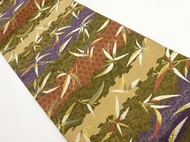 【IDnet】 金糸霞に草葉模様織出し袋帯【リサイクル】【中古】【着】