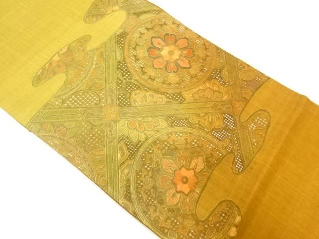 【IDnet】 未使用品 手織り紬汕頭蘇州刺繍花唐草模様袋帯【リサイクル】【着】