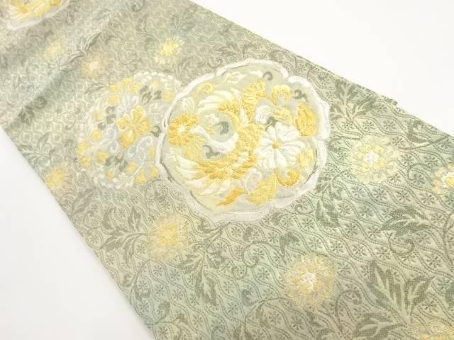【IDnet】 金糸花鳥丸紋模様織出し袋帯【リサイクル】【中古】【着】