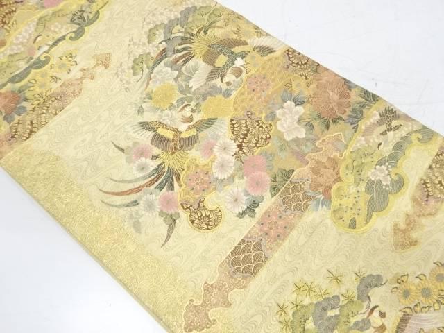 【IDnet】 橋本織物製 鳳凰に松・草花模様織出し袋帯【リサイクル】【中古】【着】