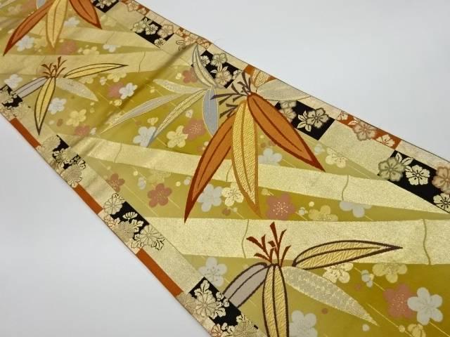 【IDnet】 竹に梅模様織出し袋帯【リサイクル】【中古】【着】