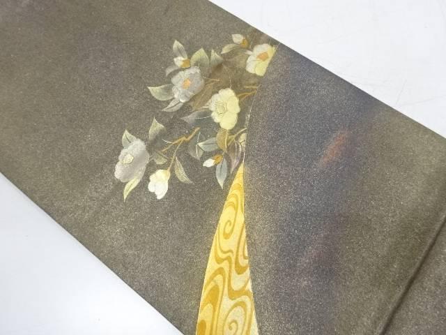 【IDnet】 金彩螺鈿観世水に椿模様袋帯【リサイクル】【中古】【着】