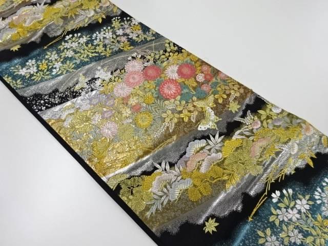 【IDnet】 金銀糸草花に蝶模様織出し袋帯【リサイクル】【中古】【着】