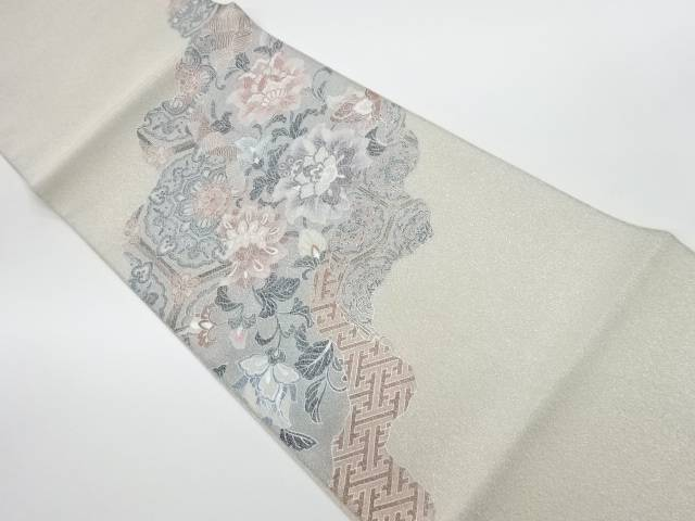【IDnet】 未使用品 綴れ銀彩蜀江文に花々模様袋帯【リサイクル】【着】
