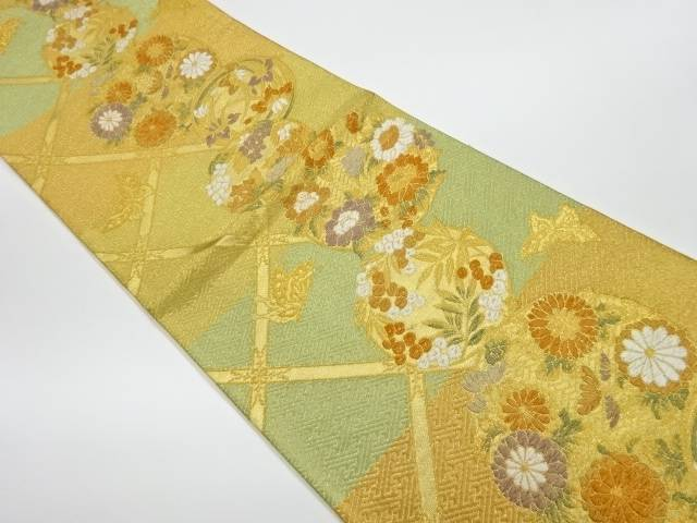 【IDnet】 丸文に花々模様織出し袋帯【リサイクル】【中古】【着】