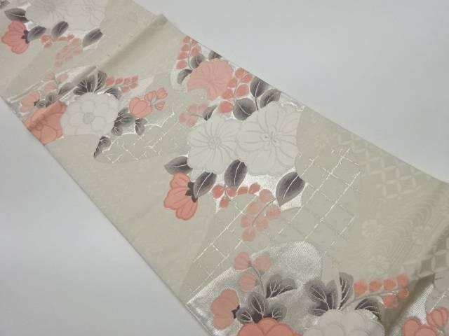【IDnet】 流水に花々模様織出し袋帯【リサイクル】【中古】【着】