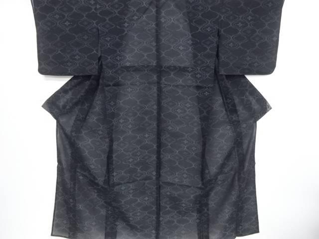 【IDnet】 網目に花菱模様織り出し本場夏大島紬着物【リサイクル】【中古】【着】