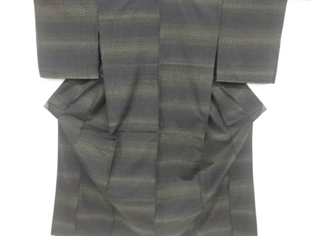 【IDnet】 未使用品 仕立て上がり 十字絣織り出し十日町紬単衣着物【着】