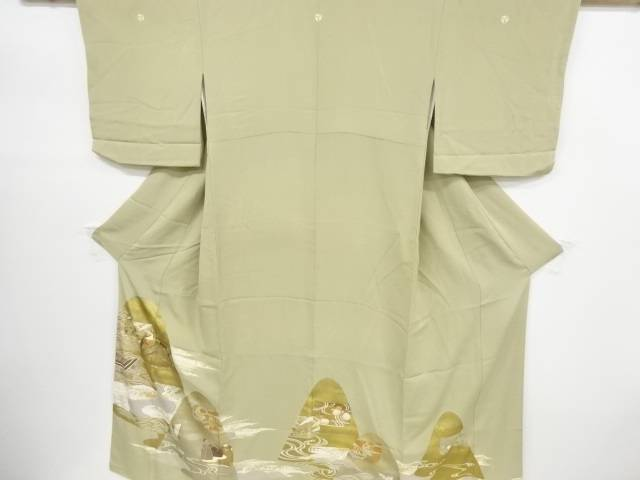 【IDnet】 金彩流水に群鶴椿模様刺繍三つ紋色留袖(比翼付き)【リサイクル】【中古】【着】