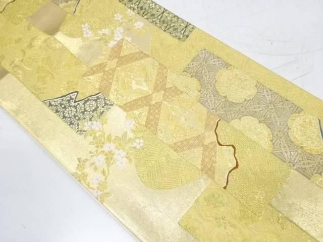 【IDnet】 短冊に向かい鶴・花模様織出し袋帯【リサイクル】【中古】【着】