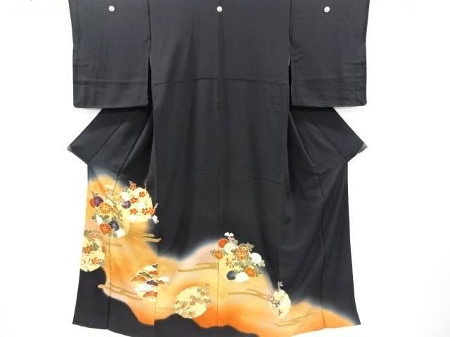 【IDnet】 金彩雪輪に菊・梅・松模様刺繍留袖(比翼付き)【リサイクル】【中古】【着】