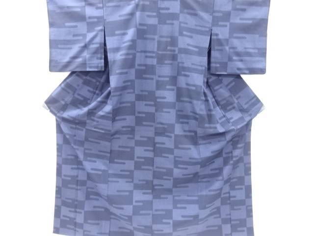 【IDnet】 ヱ霞模様織り出し本塩沢100亀甲単衣着物【リサイクル】【中古】【着】