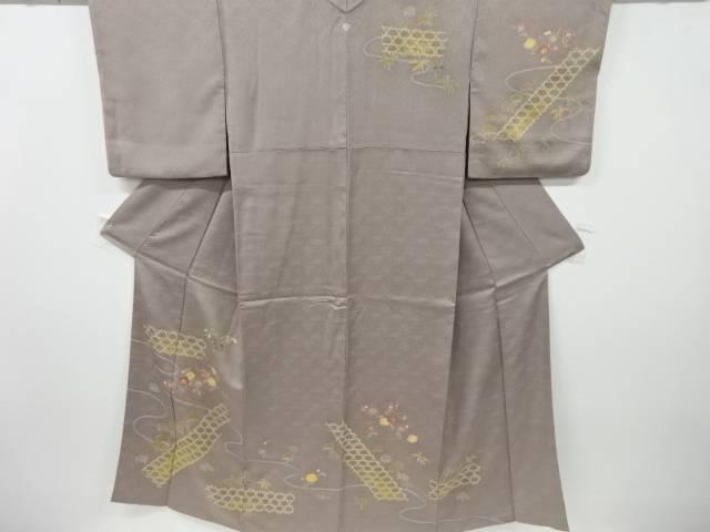 【IDnet】 金彩手描き友禅籠目に松竹梅模様刺繍一つ紋訪問着【リサイクル】【中古】【着】
