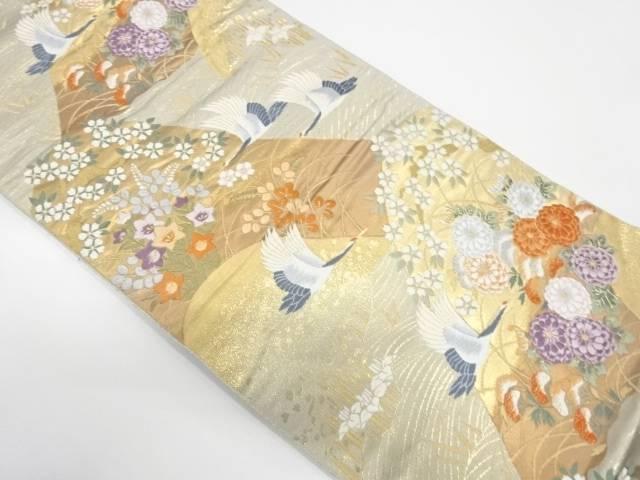 【IDnet】 山並みに花鳥模様織出し袋帯【リサイクル】【中古】【着】