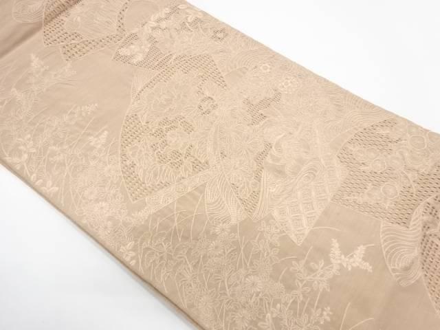 【IDnet】 汕頭刺繍地紙に草花模様袋帯【リサイクル】【中古】【着】