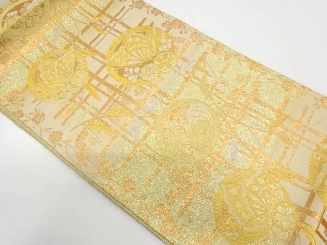 【IDnet】 丸紋に蝶・草花模様織出し袋帯【リサイクル】【中古】【着】