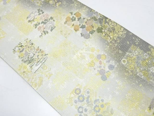 【IDnet】 未使用品 色紙に梅・草花模様織出し袋帯【リサイクル】【着】