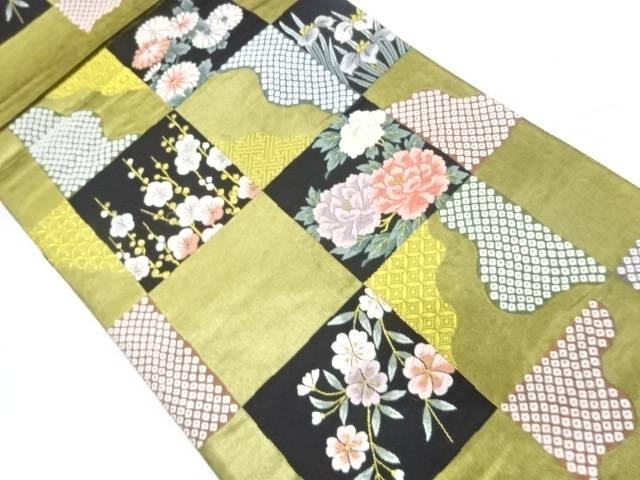 【IDnet】 引箔市松に草花・古典柄模様織出し袋帯【リサイクル】【中古】【着】