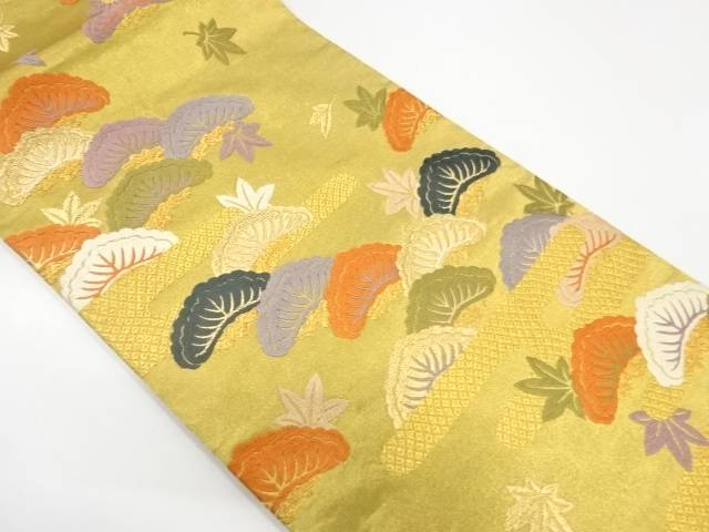 【IDnet】 唐織松に楓模様織出し袋帯【リサイクル】【中古】【着】