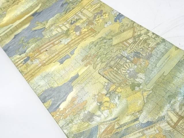 【IDnet】 岡本英男製 洛中洛外屏風図之内織出し袋帯【リサイクル】【中古】【着】