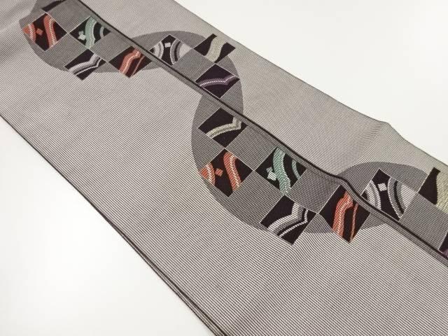 【IDnet】 色紙に抽象模様織出し名古屋帯【リサイクル】【中古】【着】