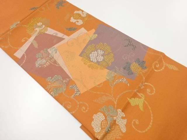 【IDnet】 花唐草に重ね色紙模様織出し袋帯【リサイクル】【中古】【着】