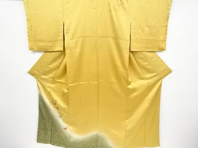 【IDnet】 未使用品 仕立て上がり 金彩扇面に花模様刺繍暈し訪問着【着】