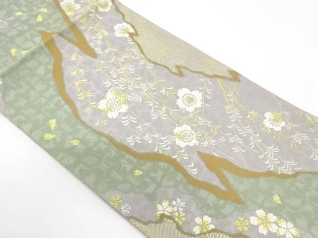 【IDnet】 未使用品 波に桜模様織出し袋帯【リサイクル】【着】
