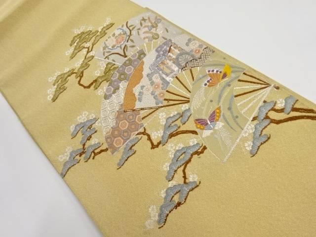 【IDnet】 綴れ扇面に花蝶模様刺繍袋帯【リサイクル】【中古】【着】