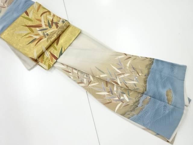 【IDnet】 縮緬地波に草葉模様訪問着(重ね衿付き) 袋帯セット【リサイクル】【中古】【着】