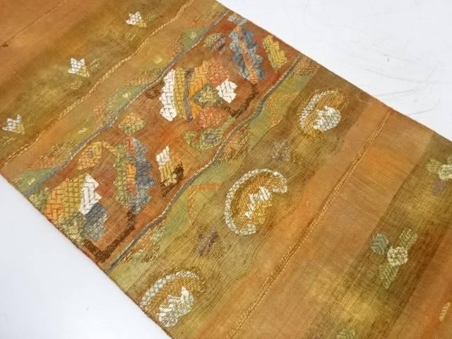【IDnet】 横段に抽象草花模様織出し袋帯(352センチ)【リサイクル】【中古】【着】