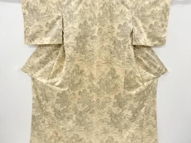 【IDnet】 手描き風景模様手織り真綿紬付け下げ訪問着【リサイクル】【中古】【着】