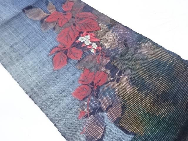 【IDnet】 未使用品 手織り真綿紬草花模様織り出し名古屋帯【リサイクル】【着】