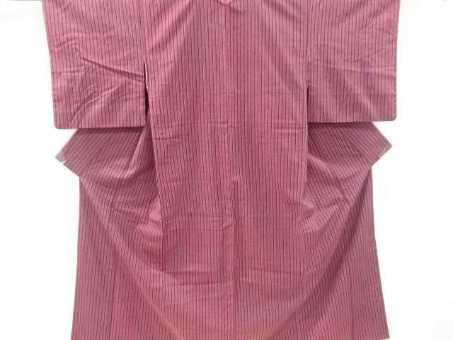 【IDnet】 縞織り出し手織り真綿紬着物【リサイクル】【中古】【着】