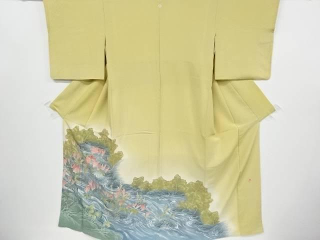 【IDnet】 作家物 手描き小鳥に川・木蓮模様一つ紋色留袖【リサイクル】【中古】【着】