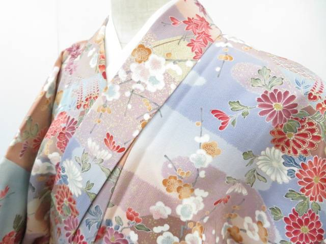【IDnet】 小紋 霞に扇・古典草花文 着物【リサイクル】【中古】【着】