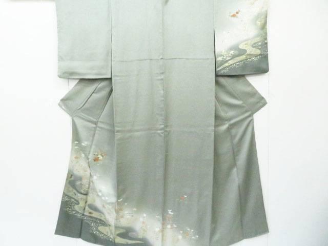 【IDnet】 付下げ 刺繍 流水に秋草花文 着物【リサイクル】【中古】【着】