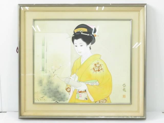 【IDnet】 日本画 渡部岱龍筆 額装【中古】【道】